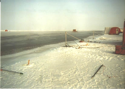 [Image of equipment deployed at a Arctic lead]