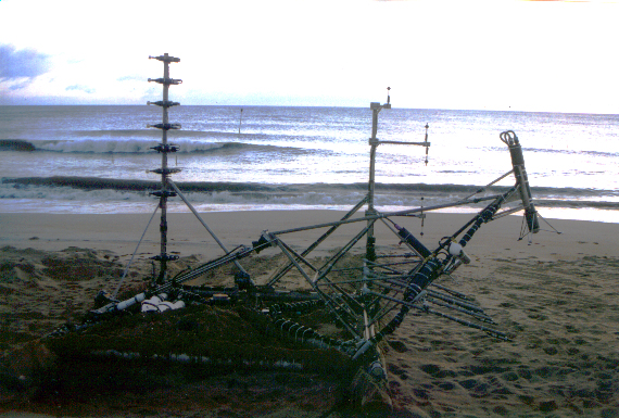 [Image of instrumented sled on the  beach in Duck, NC]